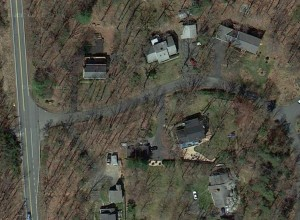 A Google's-eye view of houses in the vicinity of the proposed Charlottesville Bypass.