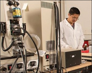 Wei Zhang in his lab.