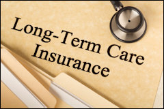 Long-term care insurance information, form, Folders and stethoscope.