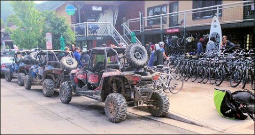 WIth all the trails around Aspen, mountain bikes and ATVs do a rip-roaring business.