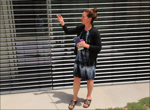 Kelly Vaughn explains how exterior sun shades adjust the sunlight and energy admitted into the Rocky Mountain Institute headquarters building.