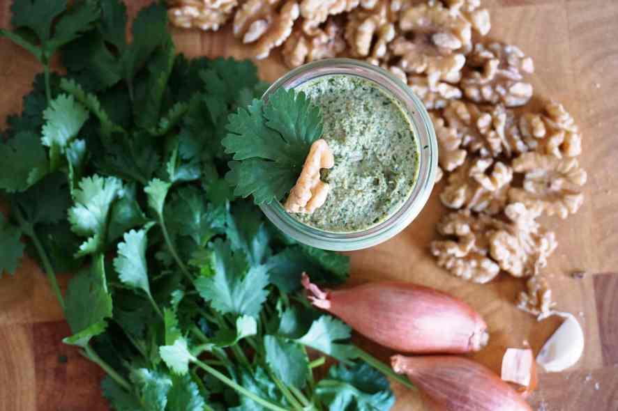 Rezept für Koriander-Walnuss-Pesto