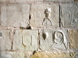 Graffiti attributed to imprisoned Knights Templar in the Donjon du Coudray at the Château of Chinon, France