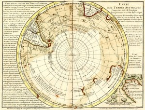 The original version of Philippe Buache's map of the southern continent, which does not show two Antarctic islands