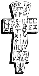 Camden's illustration of a lead cross allegedly found at Glastonbury in 1191