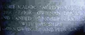 The plaque at Rhos-on-Sea, recording the alleged departure of Madoc for North America