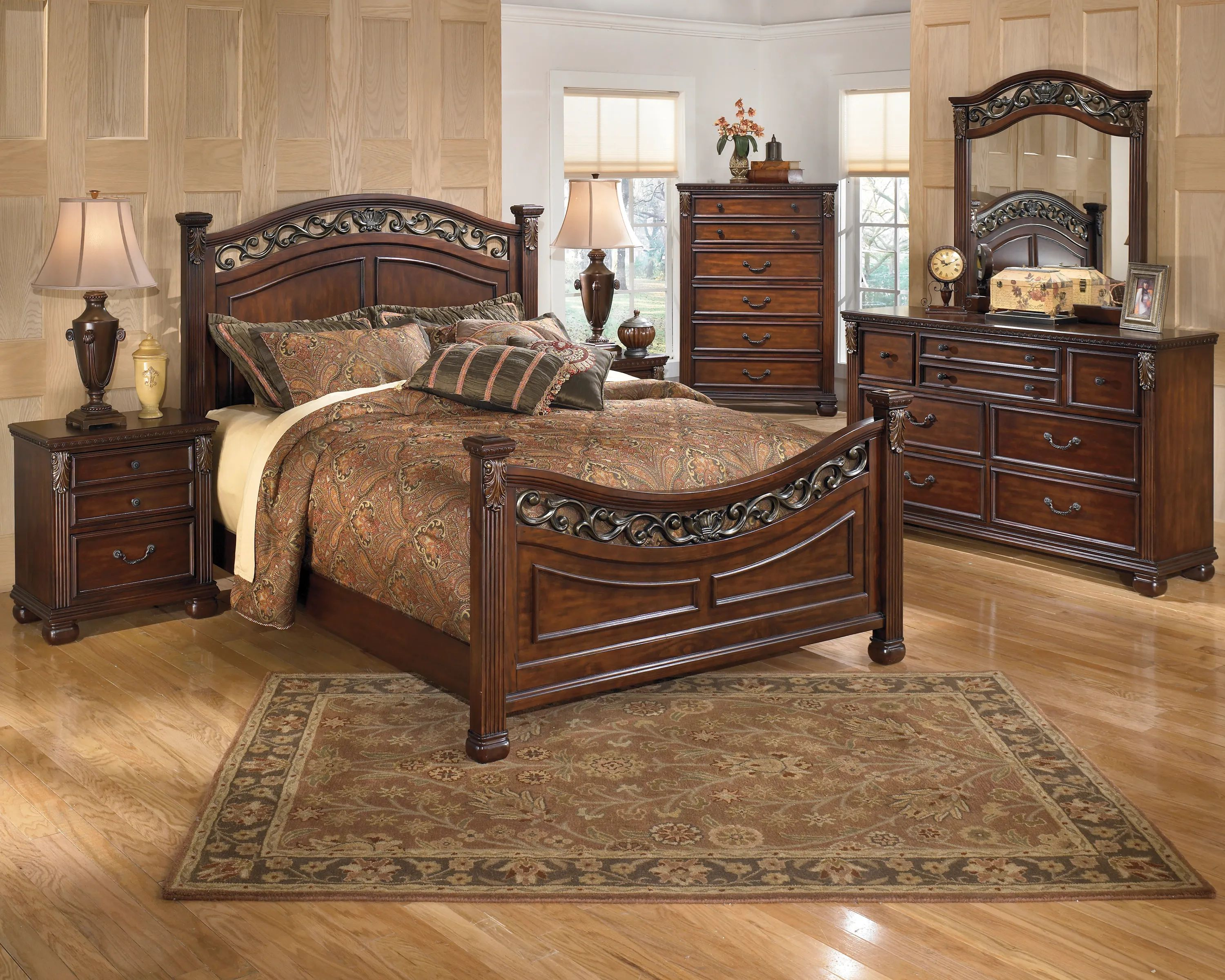 signature design by ashley leahlyn 6pc queen bedroom set in warm brown b526