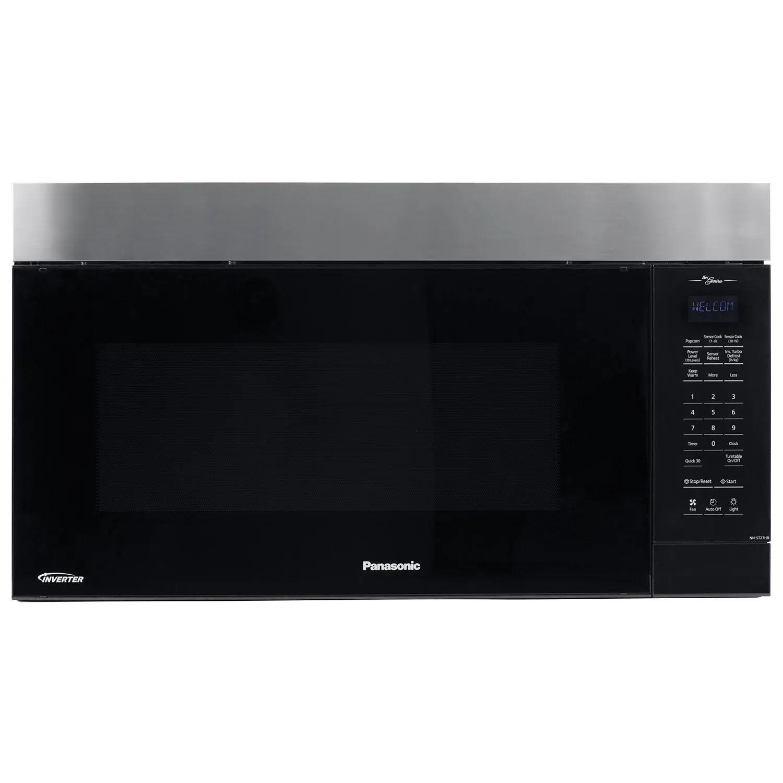 panasonic 30 inch 2 0 cu ft genius prestige plus over the range microwave in black stainless steel nnst27hb