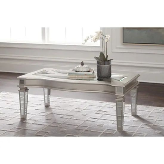 signature design by ashley tessani wood and glass rectangular cocktail table in silver t099 1