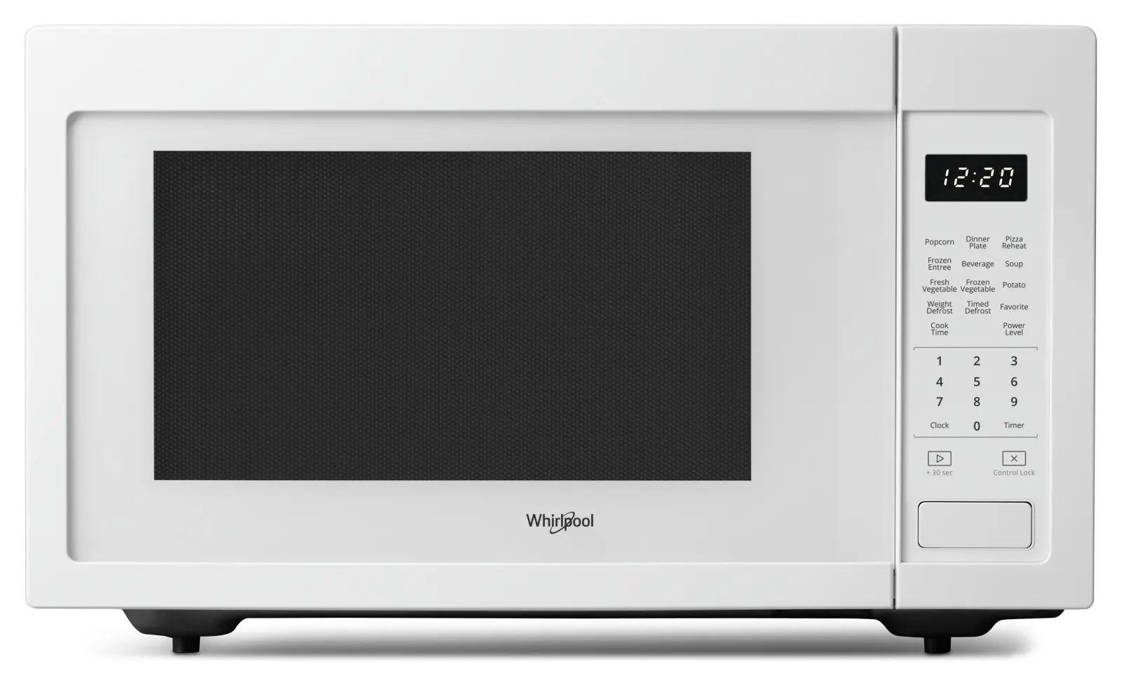 whirlpool 21 inch 1 6 cu ft 1100 watt countertop microwave in white ywmc30516hw