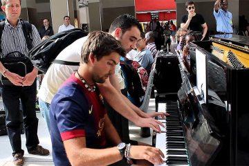 strangers play the piano