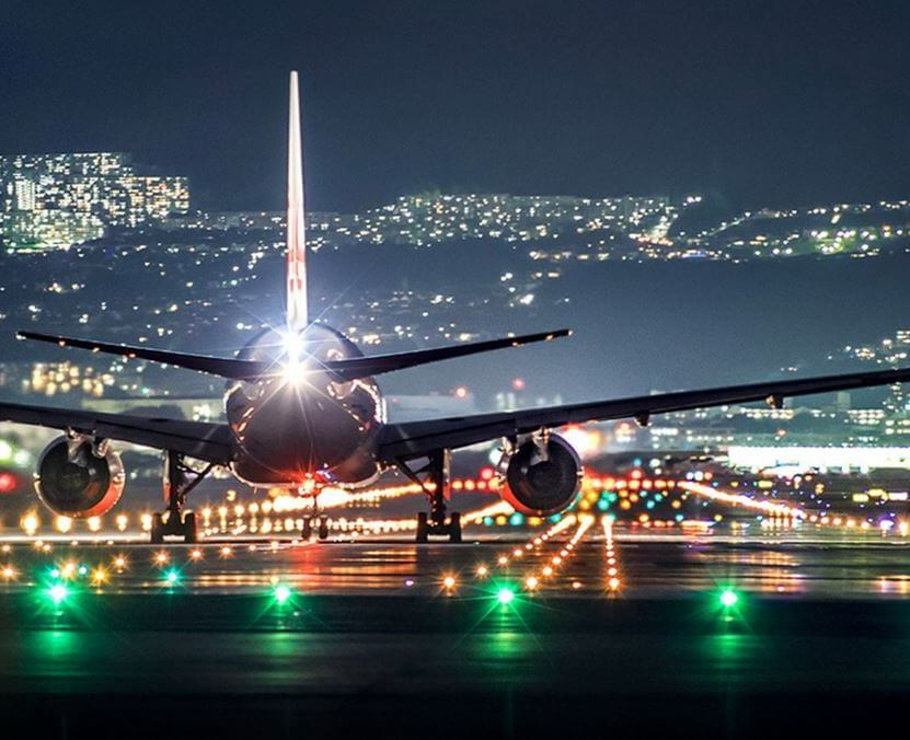 commercial plane by night