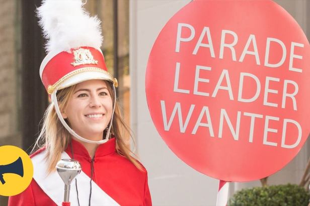"""New Yorkers are surprised with the chance to lead a """"random parade"""" through the streets."""