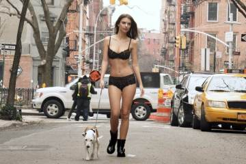 Walking Down the street in Lingerie with Emily Ratajkowski