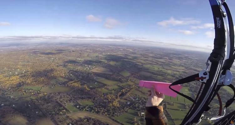 Dropping A Paper Airplane At 2,000 Feet and Catch it again before Landing 1