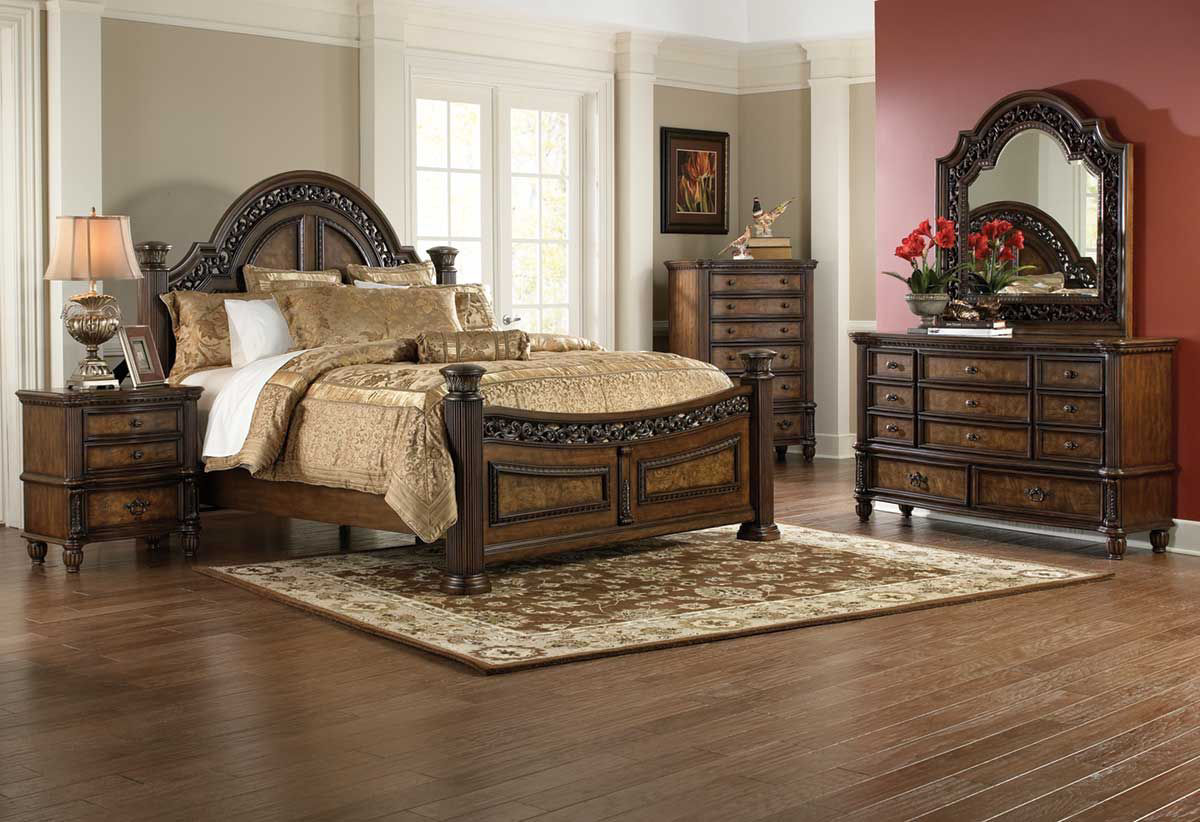 The herringbone pattern on the headboard, dresser, chest and nightstand creates a striking feature will stand out in your bedroom. Verona 5 Pc Queen Bedroom Group | Badcock Home Furniture &more