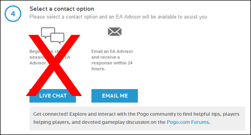 EA Help for Pogo - no live chat