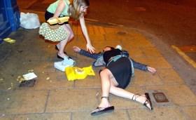 GIRLS FOLLOWING A DRUNKEN NIGHT ON THE TOWN