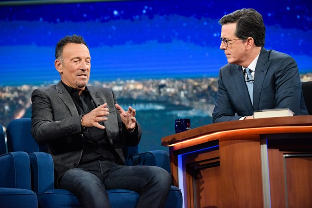 The Late Show with Stephen Colbert and guest Bruce Springsteen during Thursday's 9/22/16 taping for Friday's 9/23/16 show in New York. Photo: Scott Kowalchyk/CBS ©2016CBS Broadcasting Inc. All Rights Reserved.