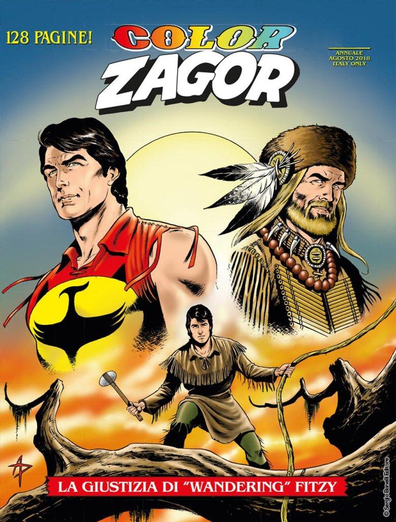 """Color Zagor 7: La giustizia di """"Wandering"""" Fitzy, copertina di Alessandro Piccinelli"""