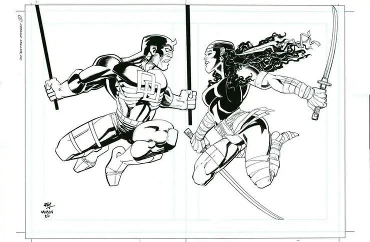 Daredevil ed Elektra, illustrazione di Frank Miller e Klaus Janson