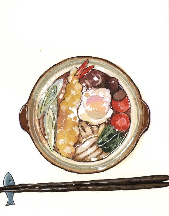 Udon Nabeyaki, illustrazione di Peach Momoko