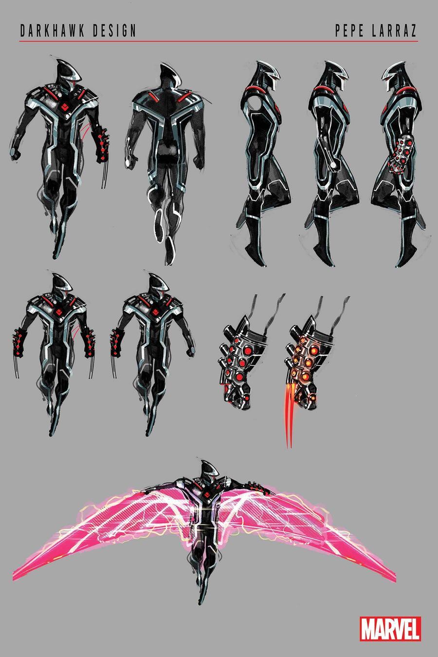 Darkhawk, character design di Pepe Larraz