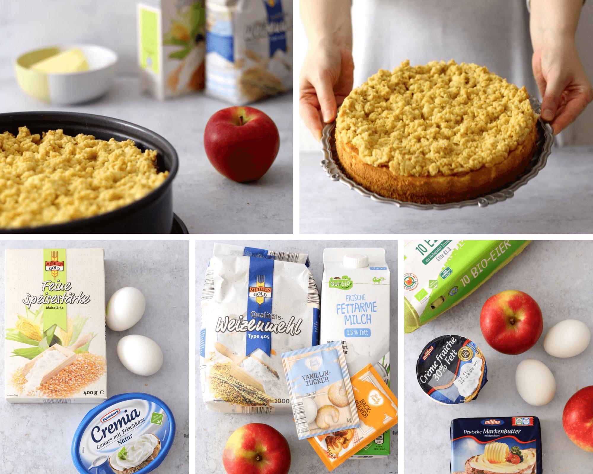 Apfel Käsekuchen mit Streuseln   bäckerina.de