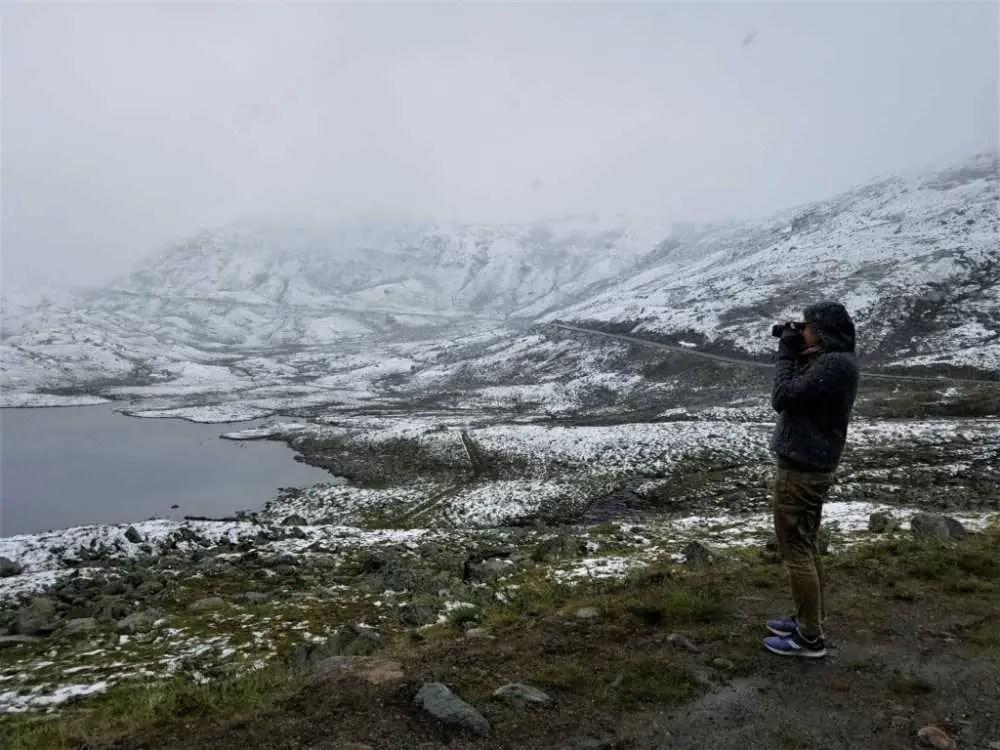 Schneefall und Schneesturm im Juli in Norwegen
