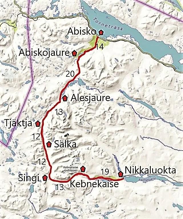 Der Dag Hammarskjöldsleden Wegverlauf. Trekking-Tour von Abisko nach Nikkaluokta