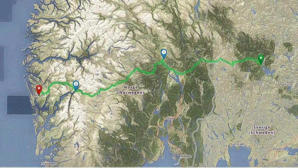 Route mit dem Camper von Mora in Schweden nach Bergen in Norwegen