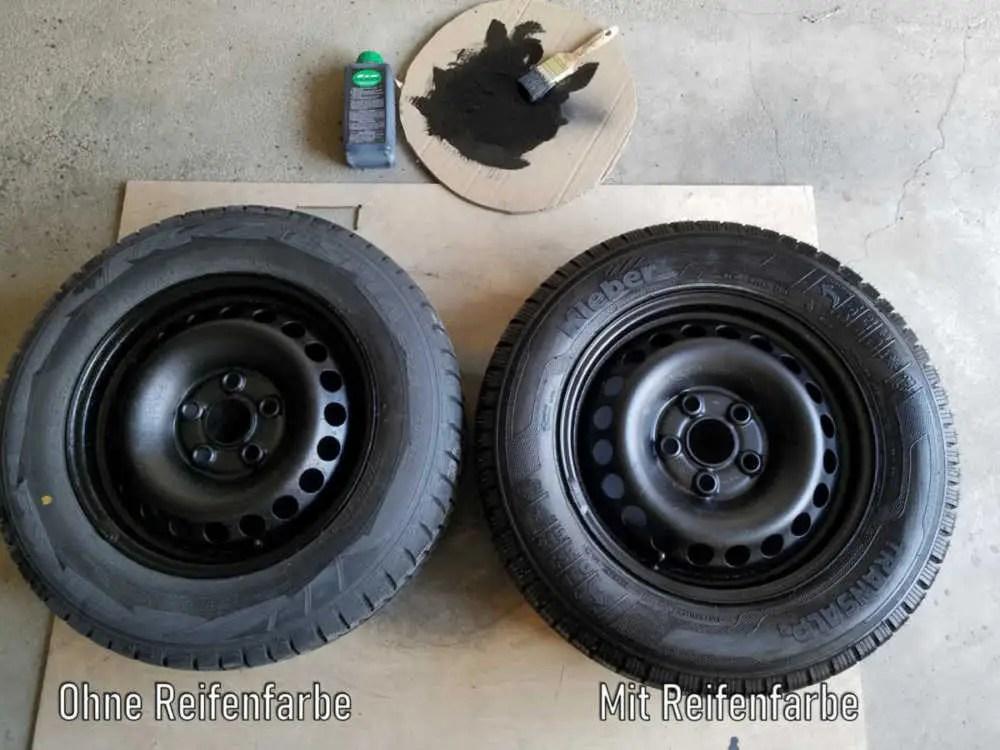 Reifen mit Reifenfarbe behandeln und bemalen.
