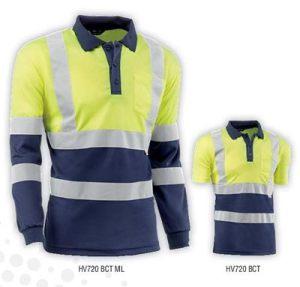 Polo con bandas reflectantes horizontales y verticales con el bolsillo en el pecho. Disponible en varios colores y compuesto de poliéster de 140 gr/m2. Disponible en multiples tallas.