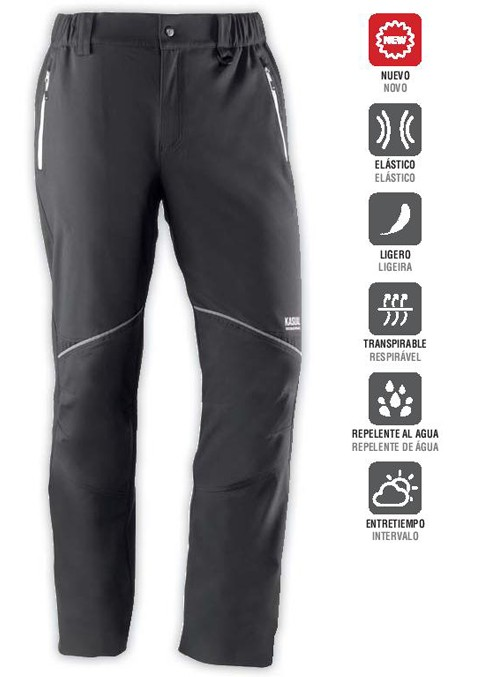Pantalón multibolsillos con cierre frontal de cremallera y botón a presión. Dispone de dos bolsillos frontales y uno trasero con cierre de cremallera. Elástico en los laterales de la cintura para mayor ajuste.