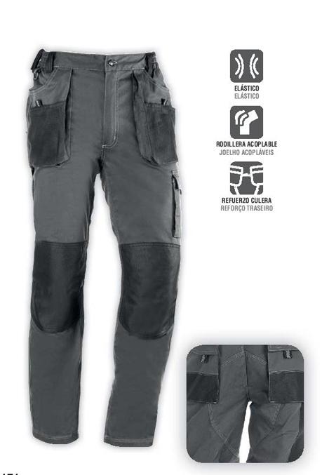 Pantalón multibolsillos, elástico en la cintura, bolsillos frontales y traseros con cierre velcro, apertura para rodilleras, cierre de cremallera y botón, refuerzo extra en la parte trasera (zona de mayor desgaste).