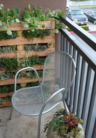 Acho incrível como os pallets podem ser usados para praticamente tudo! Aqui eles servem como prateleira para o jardim vertical. Material barato e fácil!*