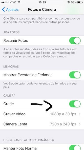 ajuste camera iphone