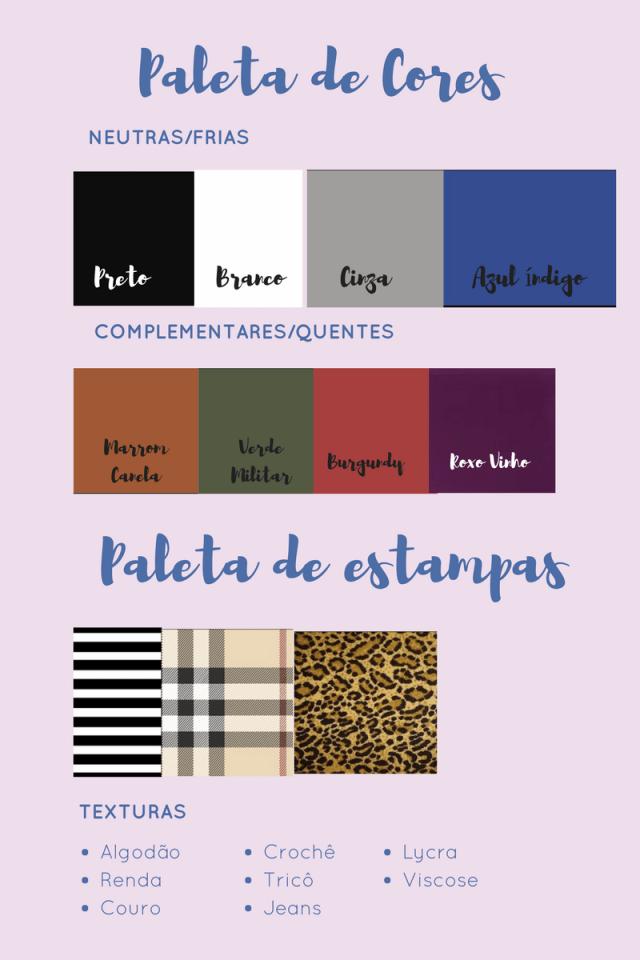 paleta de cores armario capsula