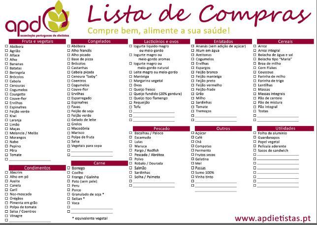 Lista de compras para imprimir