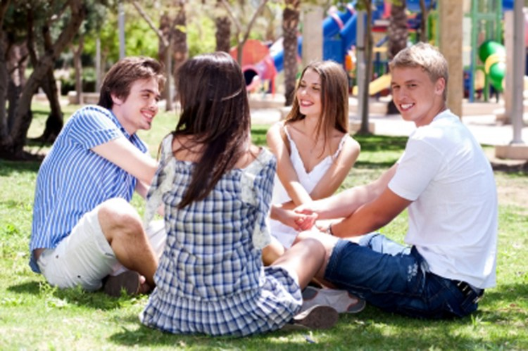 Young Couples Playing Games Stock Photo