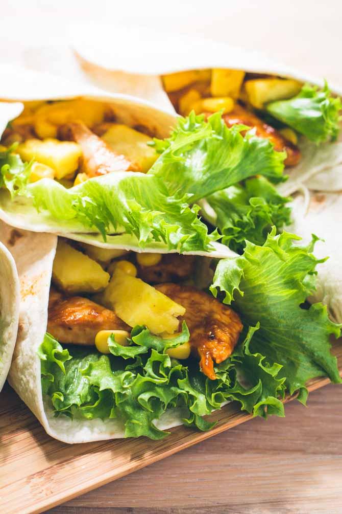Wraps opskrift med kylling og ananas