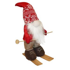Tuff röd tomte med skidor och stavar 45 cm