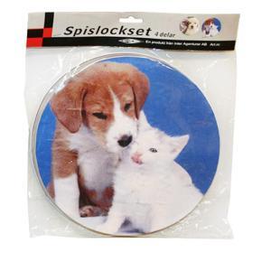 Spislock 4 st med hund och katt motiv