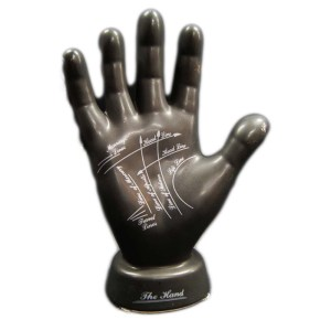 Hand tecken linjer sparbössa staty svart palmistry