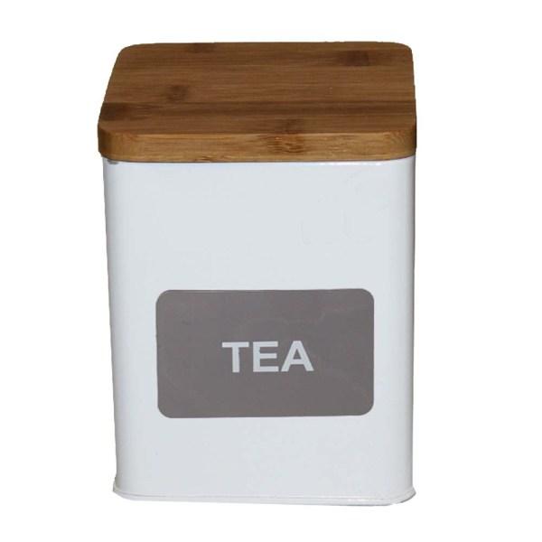Förvaringsburk burk Tea Te i retro stil plåt med trälock