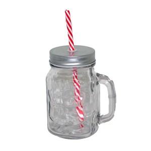 Glasburk med lock sugrör och praktiskt handtag inga getingar