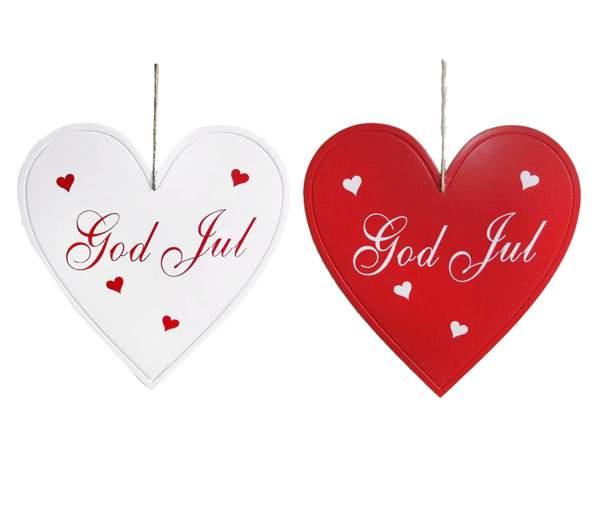 Stort vitt hjärta i trä med text God Jul