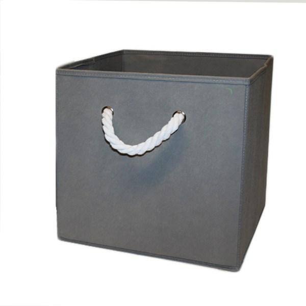 Snygg grå förvaringslåda med rep 31x31x31 cm