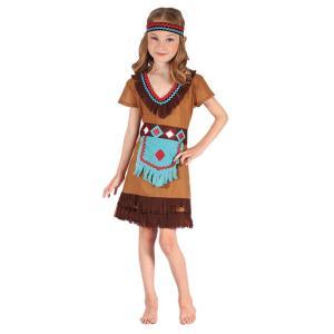 Maskeraddräkt indian flicka m klänning, bälte, pannband 122/134