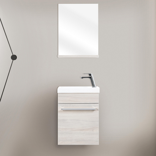 Meuble Sous Lavabo Suspendu Holly 42cm 4 Couleurs Miroir Inclus